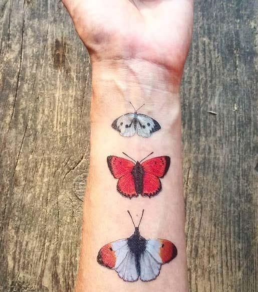Zestaw 12 Tatuaży Zmywalnych Motyle